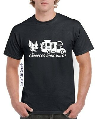 "Retro ""Campers Gone Wild"" Motorhome TShirt, Great 4 Touring & Camping Holidays"