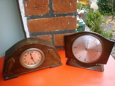 Two Vintage Wood Wind Up Mantel Clocks