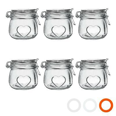 Heart Design Glass Storage / Food Preserve Preserving Jar (500ml) - Pack Of 6