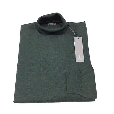 FERRANTE polo neck man green 100% lana MADE IN ITALY