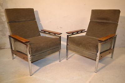 Stunning Pair Vintage Rosewood & Chrome Lounge Arm Chairs