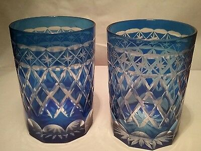 Beautiful pair vintage cobalt blue crystal glasses cut to clear