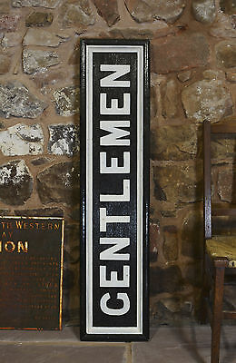 Large railway station sign wood & cast iron, ex GNR, 'GENTLEMEN' - man cave?
