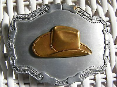 Vintage 1970s Gold Cowboy Hat Belt Buckle