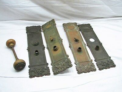 Set Matching Art Nouveau Victorian Brass Door Knob Push Plate Pull Ornate Doorkn
