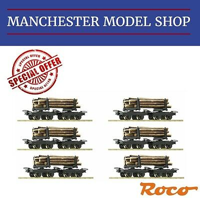 Roco HOe 1:87 Bogie Bolster wagons 12 piece set & logs 009 9mm gauge NEW UNBOXED