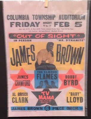 Last Sale: 1965 Out Of Sight James Brown And The Famous Flames Concert Ad Poster