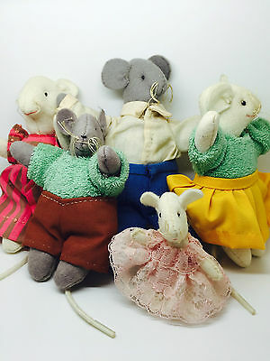 Vintage Felt Mouse Mice family of 5