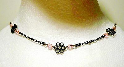 """Victorian Pair of 9.5"""" Pink Garnet Birthstone Necklaces (Marked NR & BO) Form 1"""