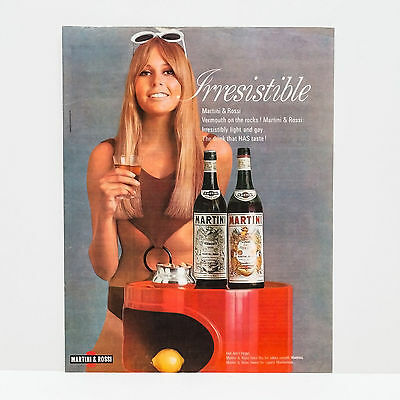 Original 1960s Martini Rossi Woman in Swimsuit Advert (Vintage Poster Art Ad)