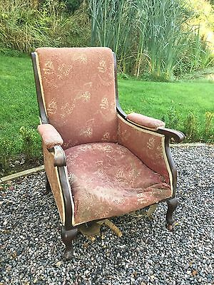 Antique Victorian Mahogany Framed Arm Chair For Re-Covering