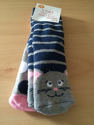 New 2 Pairs Girls Mouse Slipper Socks Store Brand