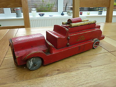 Excellent Large Handmade Leyland? Wooden Fire Engine 14 Inch Long
