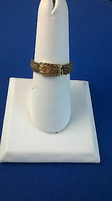 Victorian Woven Hair Memorial Mourning Ring with Monogramed Gold Size 9 1/2