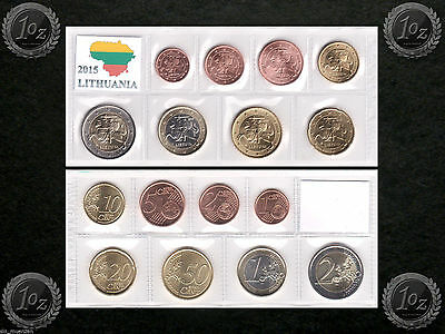LITHUANIA complete EURO SET - 8 coins SET 2015 (1 cent - 2 Euro) UNCIRCULATED