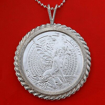 1937 Hobo Nickel Green Fairy & Fish Bone 1 oz .999 Silver Coin Sterling Necklace