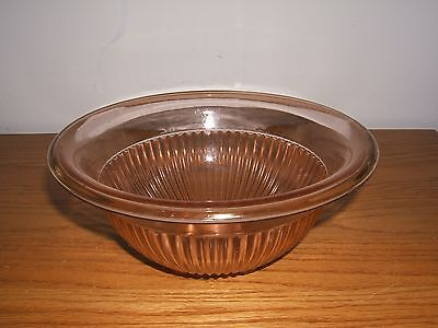 Federal Glass Pink Rose Glow Depression Mixing Bowl Ribbed Rolled Edge Lovely