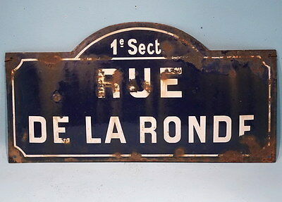Antique French Steel Blue White Porcelain Enamel Painted Street Sign De La Ronde