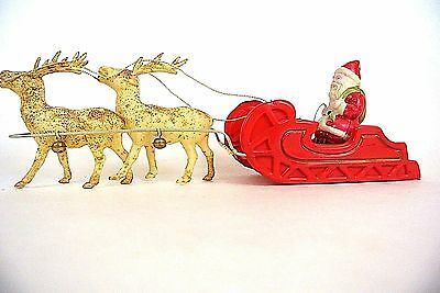 Vintage Celluloid Santa and 4 Reindeers sleigh JAPAN Collectable Christmas *1010