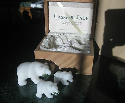HANDCARVED CASSIAR JADE GRIZZLY BEAR FIGURINES MOM & BABYSw/NUMBERED CERTIFICATE