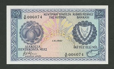 CYPRUS - 250 mils  1982  P41c  Uncirculated  ( Banknotes )