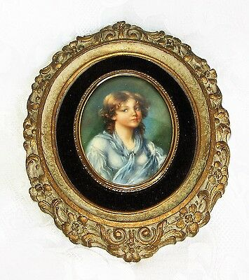 Antique Vintage Cameo Ornate Framed Picture Convex Bubble Glass Innocence Lot 1