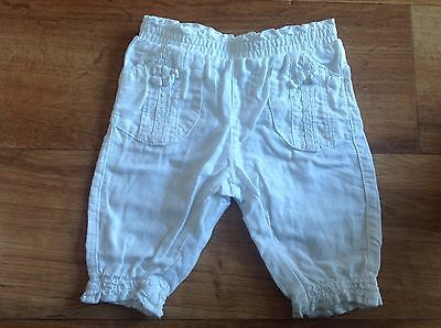 Gorgeous Baby Girls Next White Trousers 0-3 Months Clothes Will Combine Post