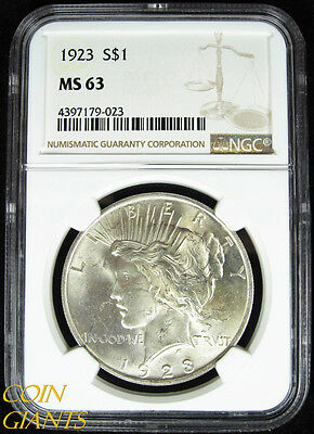 1923 Peace Silver Dollar NGC MS63 Choice Philadelphia Mint Coin Uncirculated $1
