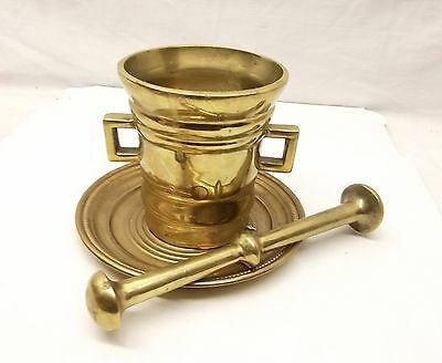 Antique Heavy Brass Mortar & Pestle Apothecary Spice Herb Crusher 3lb Vtg 2 SIde