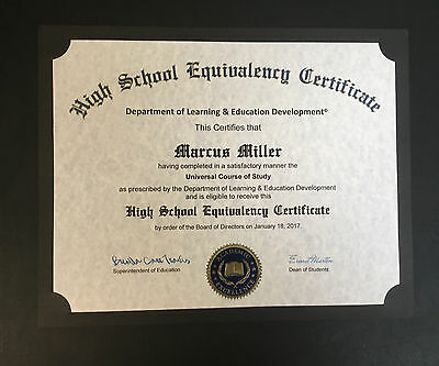 Novelty Fake High School Equivalence Diploma.