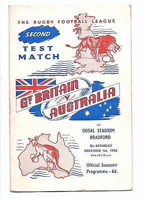 England V Australia 1956  Rugby League Test At Bradford Programme