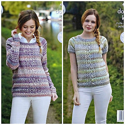 KNITTING PATTERN Ladies Short Sleeve Round Neck Cable Jumper DK King Cole 4802