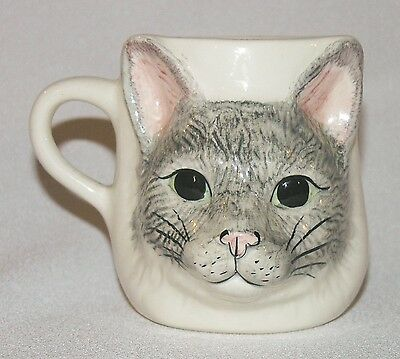 Vtg Babbacombe Pottery grey cat face mug hand-painted excellent