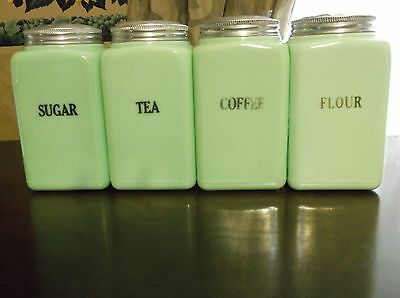 Collectible Green Jadite Kitchen Canister Set Of Four, Coffee, Sugar, Flour, Tea