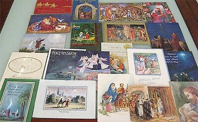 Lot 20 Used Greeting Cards for Crafts - Religious Christmas Nativity Scenes, #1