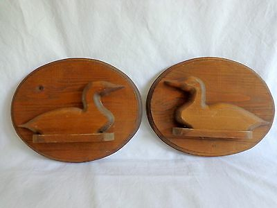 "Duck Wall Plaque Set of 2 Carved Wood Brown 9"" Oval Office Man Cave Decor"