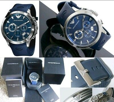 Emporio Armani watch NEW AR0649 men`s CHRONOGRAPH blue UK Fast Shipping