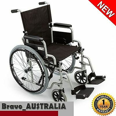 "Folding Wheelchair 24"" Folding Armrests Park Brake Mobility Aid w/ Seat Belt"