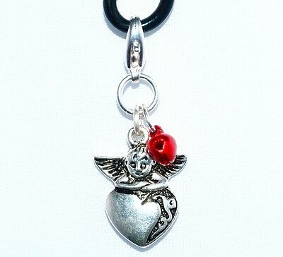 CAT, DOG, ANGEL HEART CHARM, RED BELL, PROTECTION Clip on Clasp
