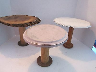 3 Chic vintage wooden spool display stands. Wood pedestal cake cupcake. Shabby