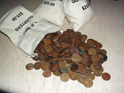 500 Lincoln Wheat Cents Copper Pennies in a Canvas Bag 40's & 50's Unsearched