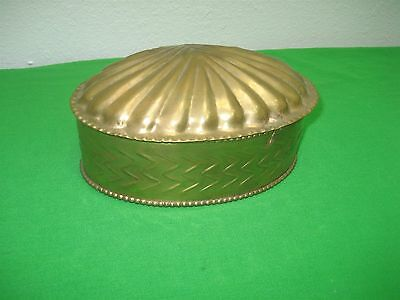 Vintage Solid Brass Trinket Box Shaped Like Clam Shell Hinged Top