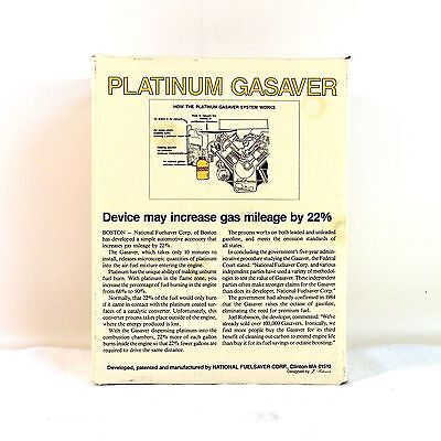 Platinum Gasaver National Fuelsaver Corp New Old Stock Vintage 1980's