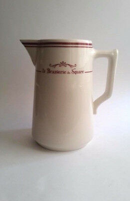 """Comptoir de Famille """"La Brasserie du Square"""" Red and White France/French Pitcher"""