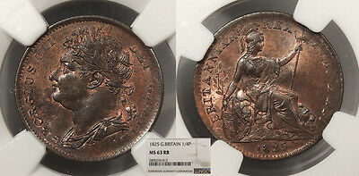 GREAT BRITAIN George IV 1825 Farthing NGC MS-63 RB