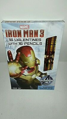 Brand New Ironman 3 Valentines With Pencils