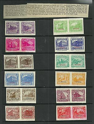 Nicaragua 1931 complete set of Earthquake stamps, imperforate, no gum, as issued