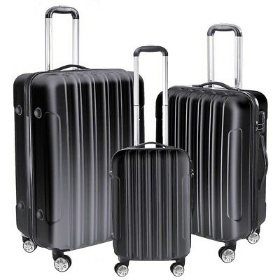 3Pcs Luggage Travel Set Bag ABS + PC Rolling 4 Wheels Trolley Suitcase Code Lock