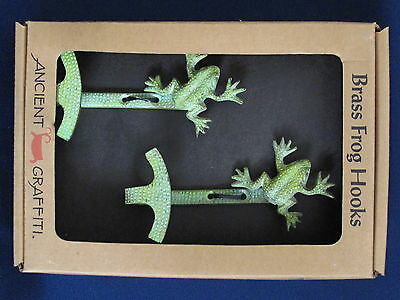 Ancient Graffiti Set of 2 Brass Frog Hooks ~ New in Box