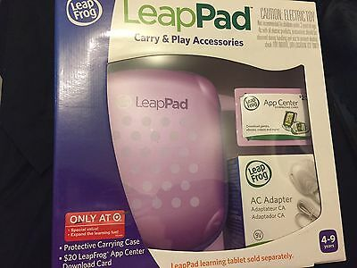 NIB*LeapFrog LeapPad Carry & Play Accessories CASE*AC ADAPTER* $20 Download Card